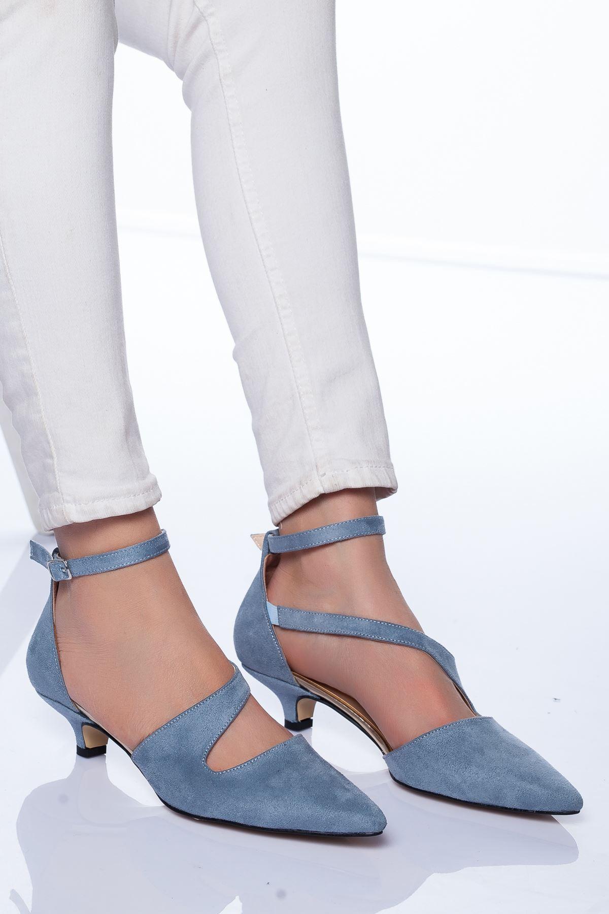 Costa Topuklu Ayakkabı Bebe Mavisi Süet