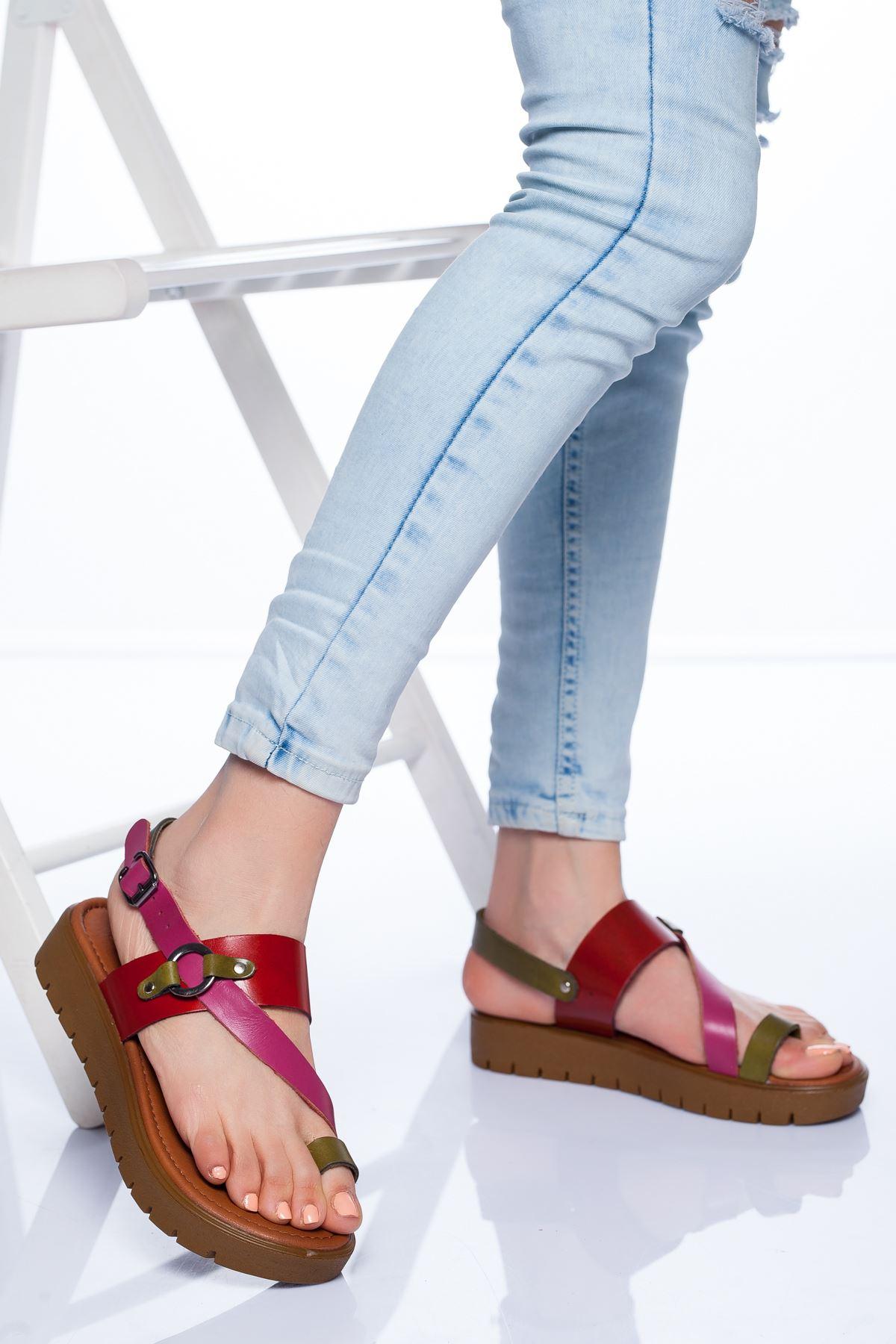 Alaçatı Hakiki Deri Sandalet MIX3