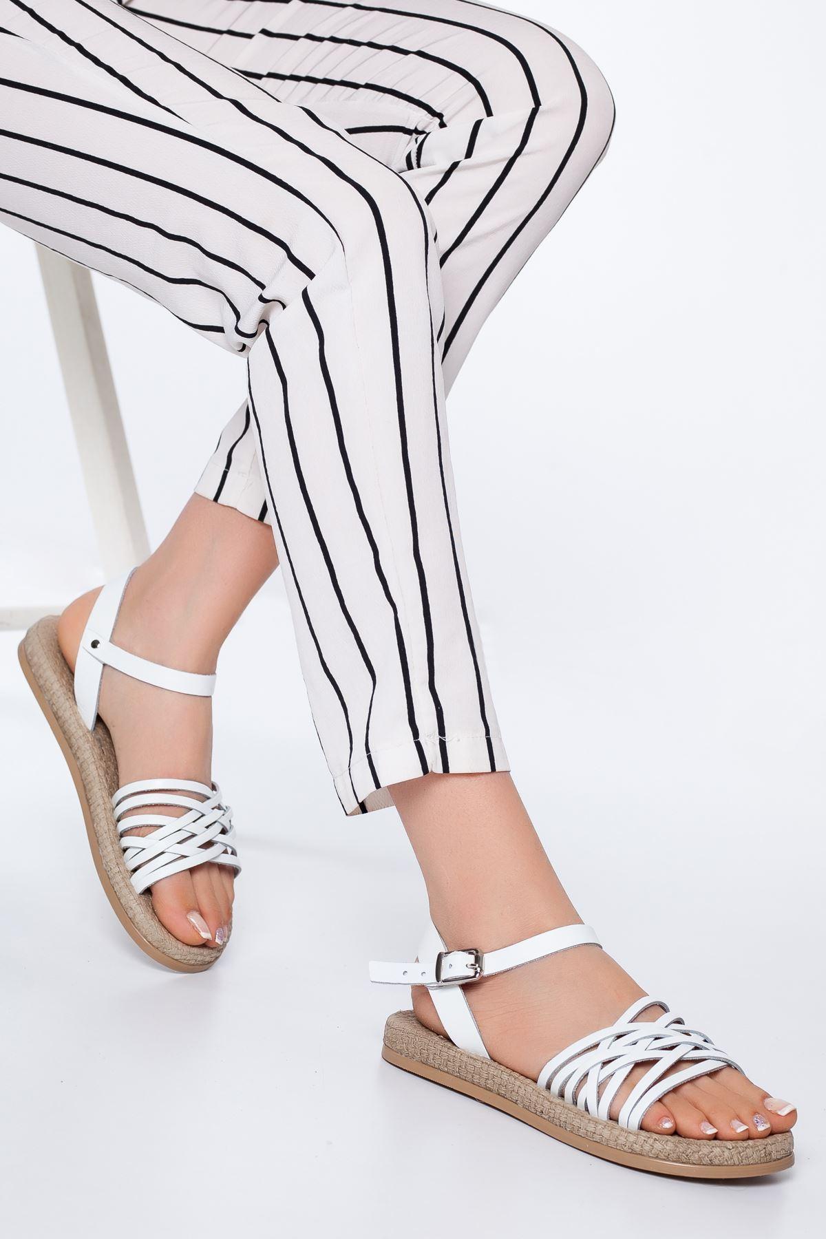 Carine Hakiki Deri  Sandalet BEYAZ