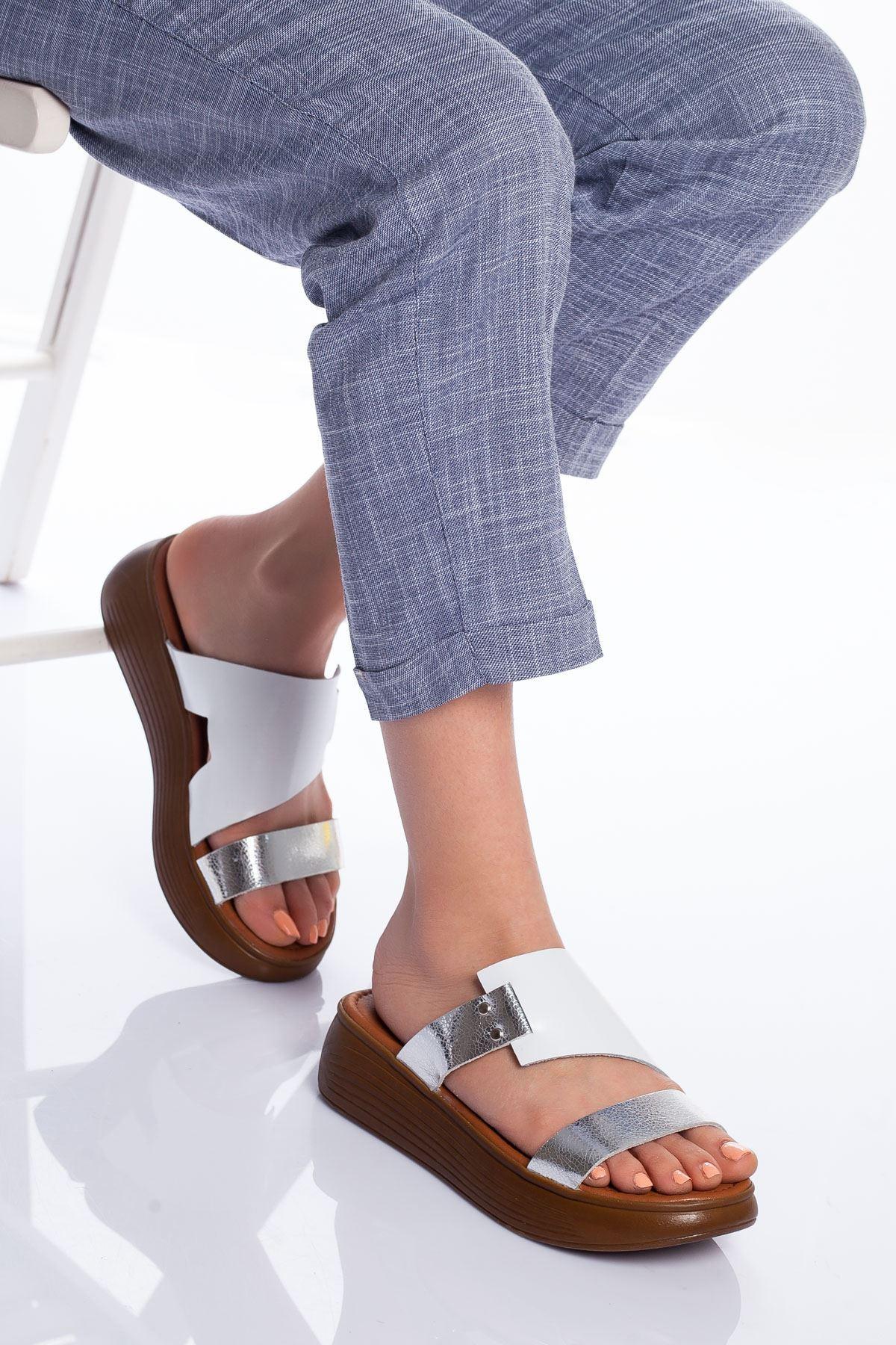 Lori Hakiki Deri Sandalet BEYAZ
