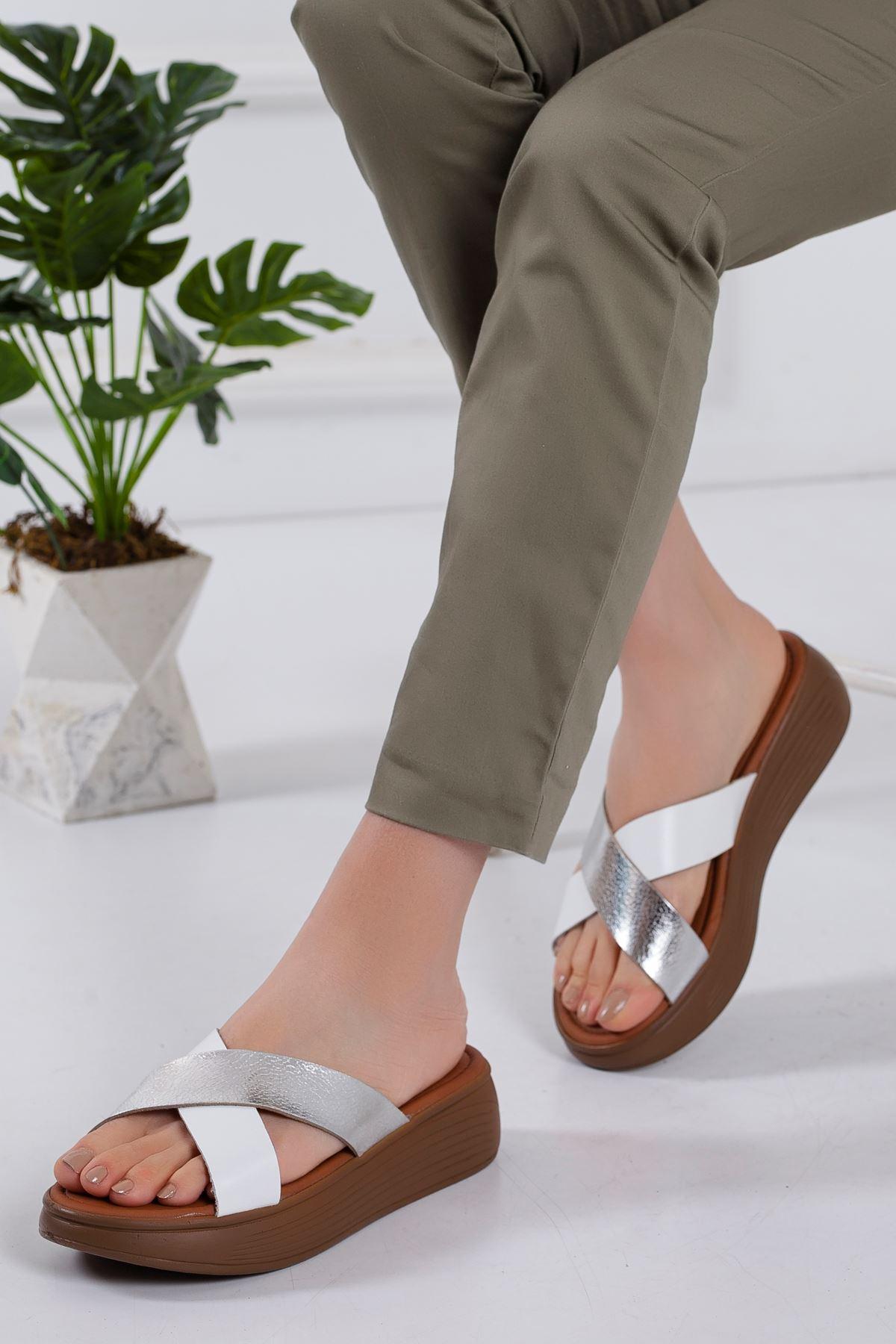 Gales Hakiki Deri Sandalet BEYAZ