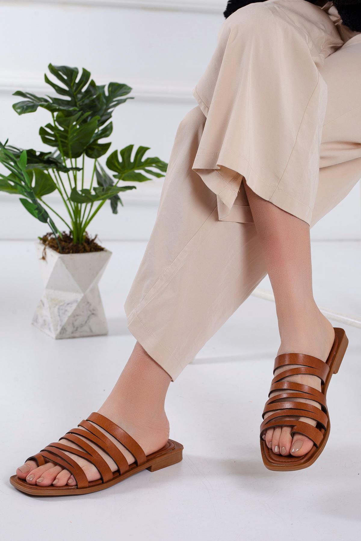 Humber Hakiki Deri Sandalet TABA
