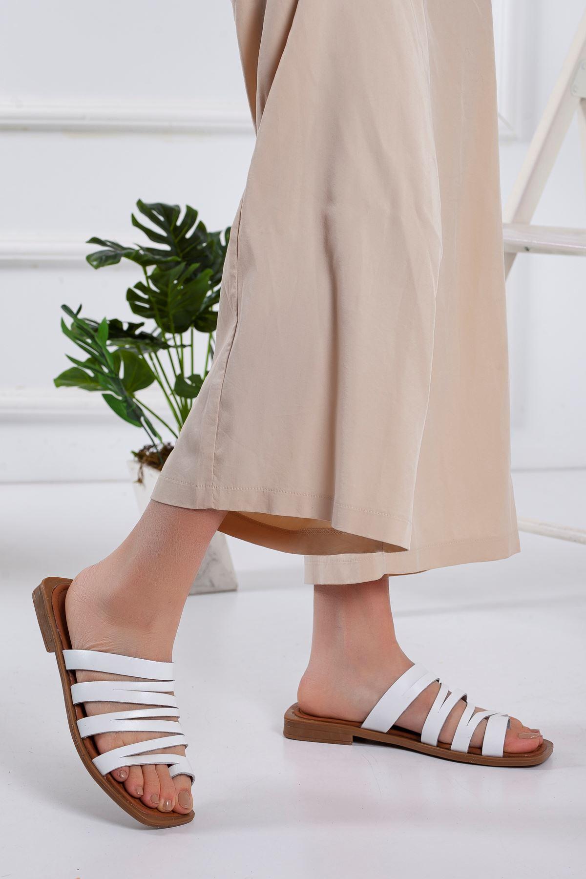 Humber Hakiki Deri Sandalet BEYAZ