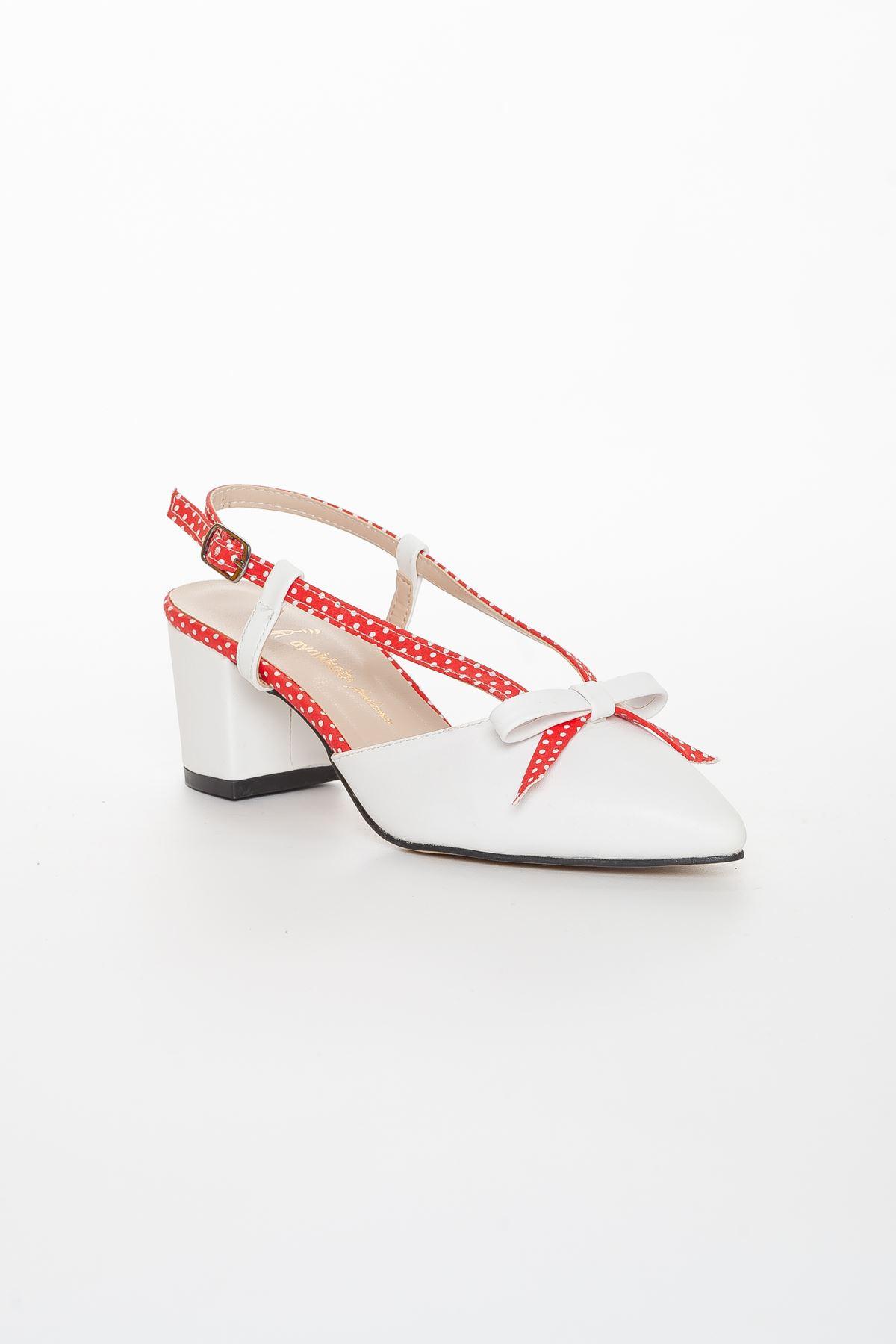 Felicia Topuklu Ayakkabı BEYAZ-KIRMIZI
