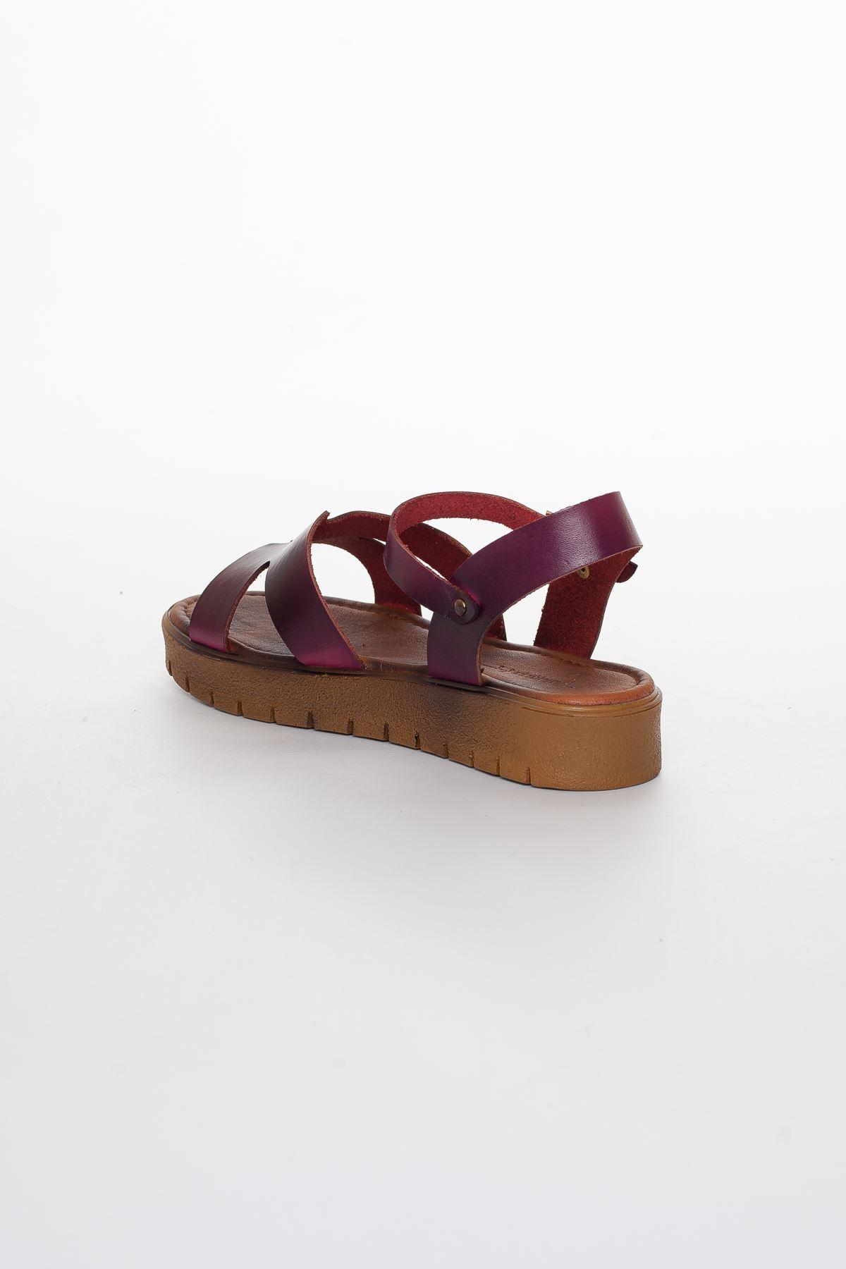 Nancy Hakiki Deri Sandalet MÜRDÜM